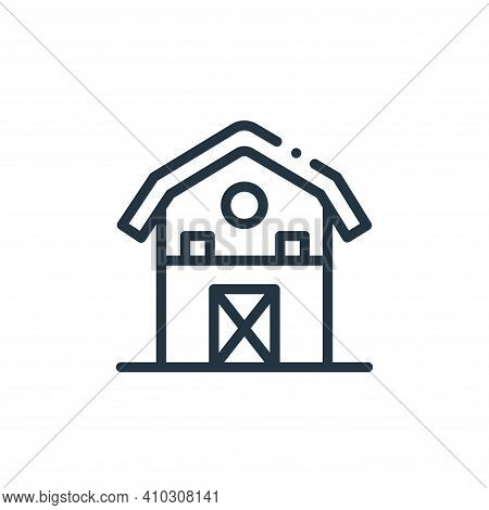 barn icon isolated on white background from in the village collection. barn icon thin line outline l