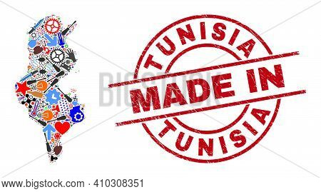 Component Tunisia Map Mosaic And Made In Grunge Watermark. Tunisia Map Mosaic Created With Spanners,