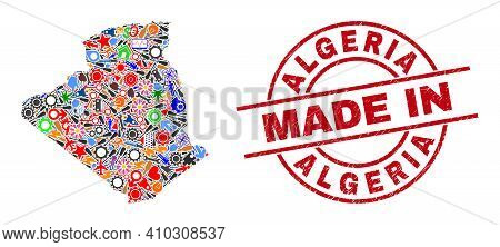 Component Algeria Map Mosaic And Made In Distress Rubber Stamp. Algeria Map Collage Created With Spa