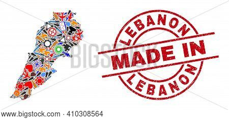 Industrial Lebanon Map Mosaic And Made In Grunge Rubber Stamp. Lebanon Map Collage Composed With Wre