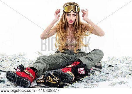 Snowboard Girl In Ski Mask. Female Snowboarder. Wintertime. Extreme Winter Sport.