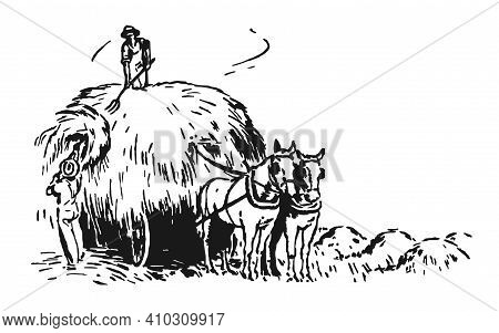 Men Collect Hay On A Wooden Cart, Vector Illustration. A Horse Harnessed To A Cart. Harvesting In Th