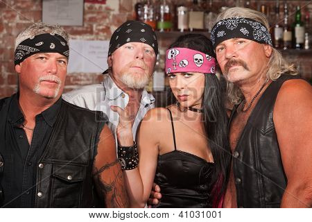 Biker Gang Members With Woman