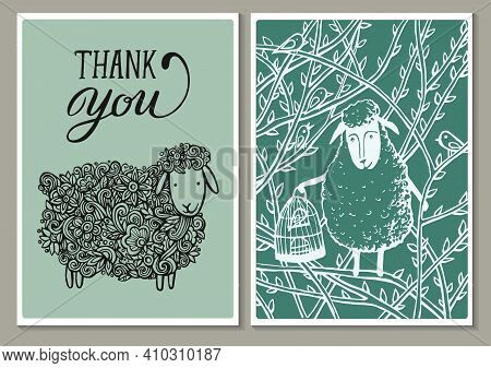 Vintage Cards. Hand Lettering Words Thank You And A Lovely Spring Openwork Lamb In Flowers And Sweet