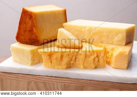 Cheese Collection, Cheeses From United Kingdom, Scottish Matured Farmcheese And Mild Cheddar Cheese