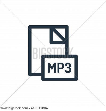 mp file icon isolated on white background from music collection. mp file icon thin line outline line