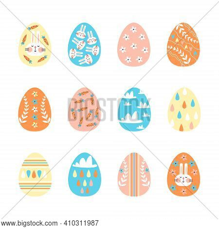 Set Of Decorated Easter Eggs Isolated On White Background. Paschal Symbols Covered With Various Orna