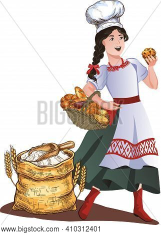 A Girl - A Baker In A National Costume, With A Basket Of Cookies, Next To A Sack Of Flour. Vector Il