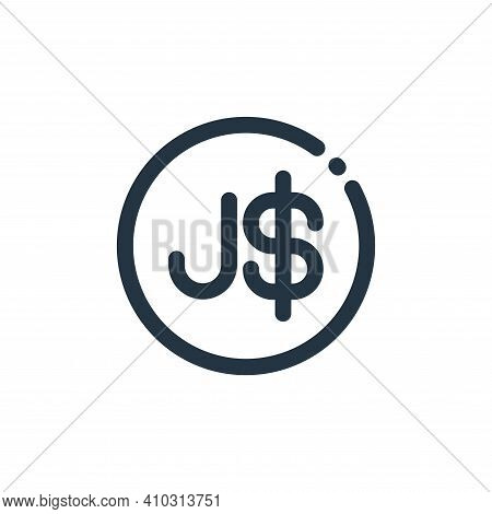 dollar sign icon isolated on white background from currency collection. dollar sign icon thin line o
