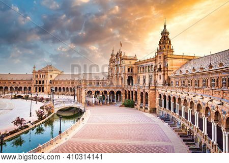Spain, Seville. Spain Square, A Landmark Example Of The Renaissance Revival Style In Spanish Archite