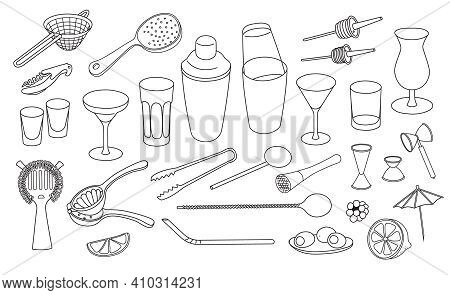 Collection Set Of Hand-drawn Doodle Cartoon Style Vector Icon Illustrations. Various Bar Cocktail To