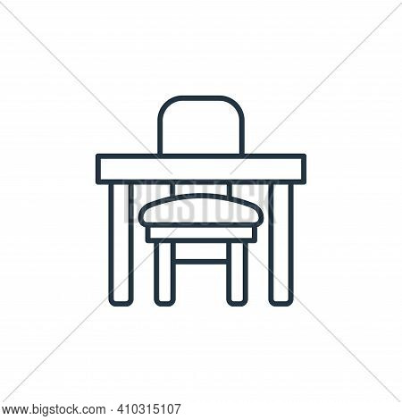 table icon isolated on white background from interiors collection. table icon thin line outline line