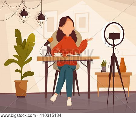 Podcast, Vlogger Or Blogger Create Internet Content. Vector Flat Illustration. Character Creating Vi