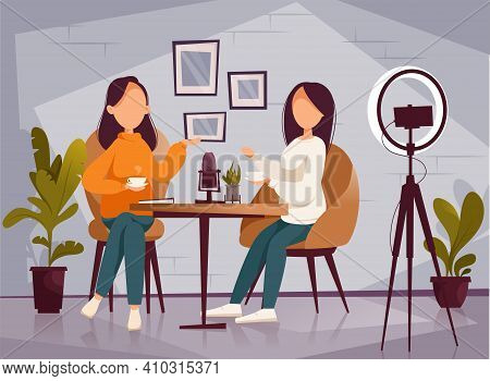Podcast, Vloggers Or Bloggers Create Internet Content. Vector Flat Illustration. Character Creating
