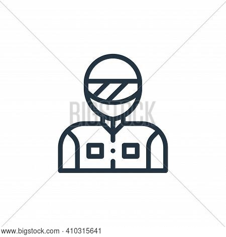 racer icon isolated on white background from autoracing collection. racer icon thin line outline lin
