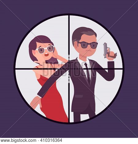Bodyguard Man Protecting Important Famous Woman, Optical Sniper Sight. Focus Aiming To Vip Celebrity