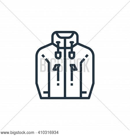 jacket icon isolated on white background from camping collection. jacket icon thin line outline line