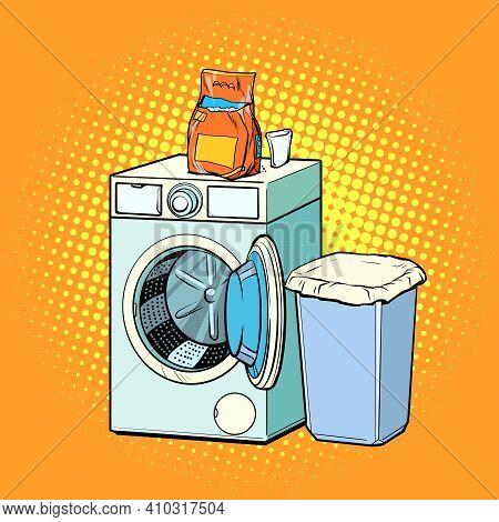 Washing Machine And Washing Powder. Pop Art Retro Vector Illustration Vintage Kitsch 50s 60s Style