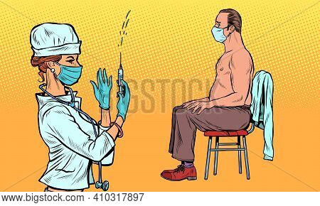 Vaccination Nurse, Covid19 Treatment And Healthcare. Pop Art Retro Vector Illustration Vintage Kitsc