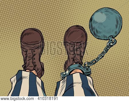 A Prisoner With A Ball On His Leg Feet Shoes Profession. Pop Art Retro Vector Illustration Vintage K