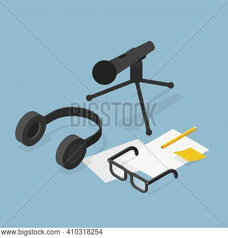 Vector Isometric Voice Recording Illustration. Sound Recording Equipment - Dynamic Microphone With T