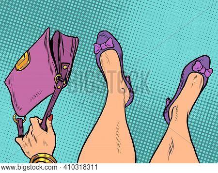 Lady Fashionista With Handbag Feet Shoes Profession. Pop Art Retro Vector Illustration Vintage Kitsc