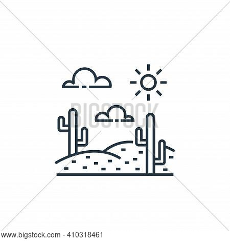 desert icon isolated on white background from tourism collection. desert icon thin line outline line
