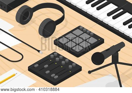 Vector Isometric Sound Production Illustration. Sound Production Equipment - Vocal Microphone With T