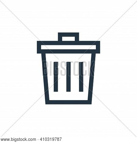 trash bin icon isolated on white background from web essentials collection. trash bin icon thin line