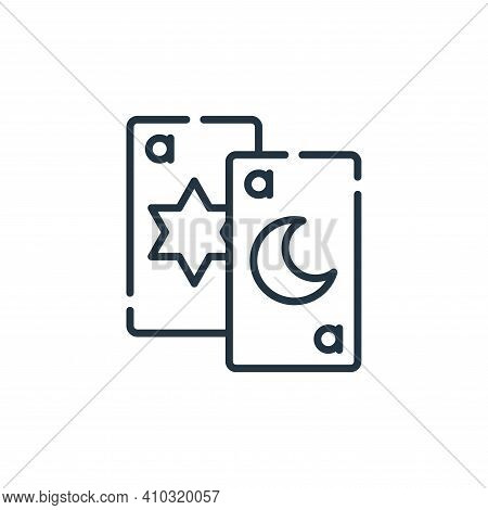 tarot card icon isolated on white background from circus collection. tarot card icon thin line outli