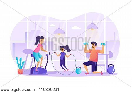 Sports Family Doing Fitness In Gym Scene. Mom Is On Stationary Bike, Dad Weightlifting, Daughter Is