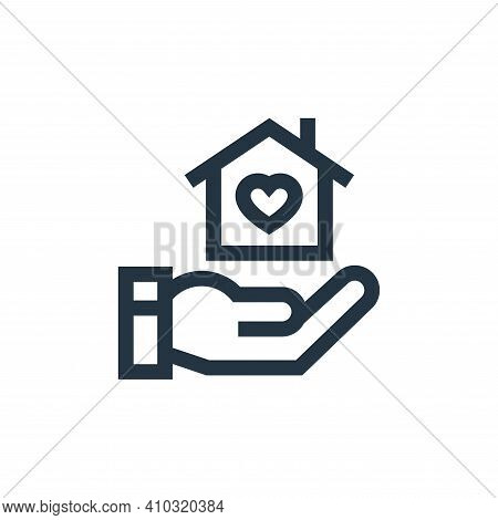 shelter icon isolated on white background from charity collection. shelter icon thin line outline li