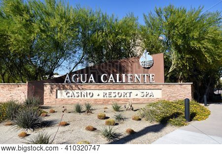 PALM SPRINGS, CA - MARCH 24, 2017: Sign at the Agua Caliente Casino Resort Spa, Bob Hope Drive.