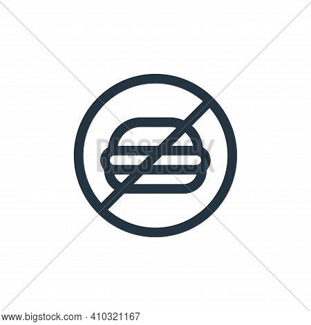 no fast food icon isolated on white background from health collection. no fast food icon thin line o