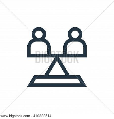 equality icon isolated on white background from charity collection. equality icon thin line outline