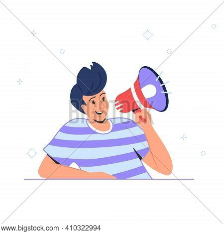 Voice Reminder And Community Announcement With Loudspeaker Or Megaphone. Flat Vector Illustration Of