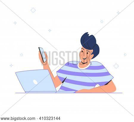 Laptop And Smartphone Data Connection And Cloud Computing. Flat Smiling Man Sitting With Laptop And
