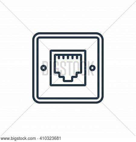 telephone socket icon isolated on white background from electrician tools and elements collection. t
