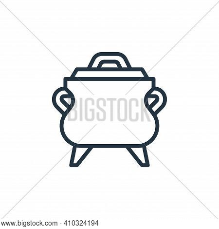 pot icon isolated on white background from camping collection. pot icon thin line outline linear pot