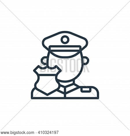 policeman icon isolated on white background from motorway collection. policeman icon thin line outli