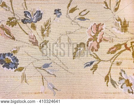 Blush Pink Old-fashioned Upholstery Textile With Floral Design