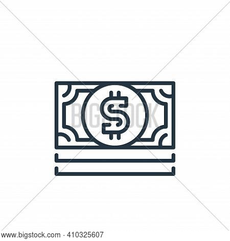 dollar bills icon isolated on white background from money and currency collection. dollar bills icon