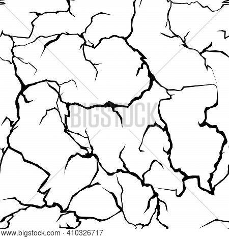 Cracks Abstract Pattern, Broken Ground Earth Texture, Desert Barren Land, Damaged Wall
