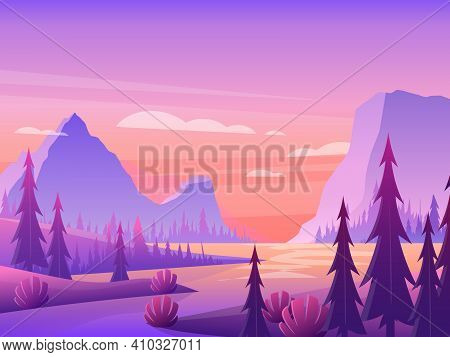 Mountain Landscape With Pine Forest And River Under Purple Sky, Nature Summer Scenery