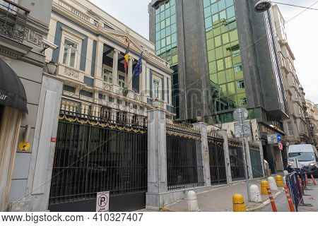 Beyoglu, Istanbul, Turkey - 02.17.2021: Black Fences And Gate Of Belgium Embassy And Consulate Build