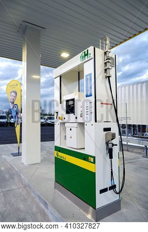 Lucerne, Switzerland - February 8, 2021: Hydrogen Fuel Pump At An Agrola Filling Station, For Cars P