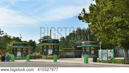 BROOKFIELD, ILLINOIS - SEPTEMBER 7, 2016: Brookfield Zoo Ticket Booths. The zoo, which opened on July 1, 1934, encompasing 216 acres is managed by the Chicago Zoological Society.