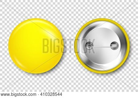 Realistic Yellow Blank Badge Isolated On Transparent Background. Glossy 3d Round Button. Pin Badge,