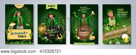 Irish Fantastic Characters Leprechauns In Different Poses On Green Background. Saint Patrick's Day P