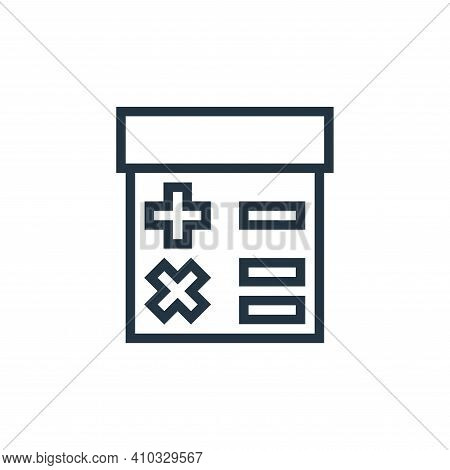 calculator icon isolated on white background from finance collection. calculator icon thin line outl